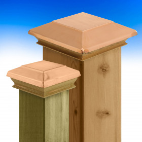 Metal Top Flat Top Post Caps with Wood Skirt by Woodway