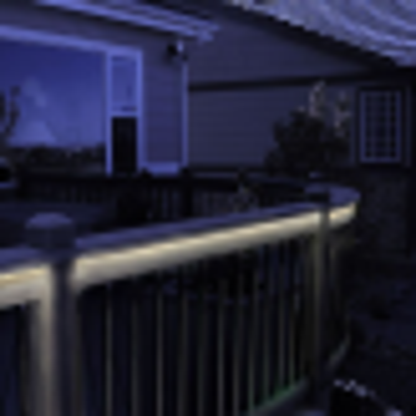 Flex Deck LED Rope Light by Dekor - Installed Under Rail - Light On