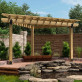 Pergola also featuring Laredo Sunset OWT Lite Post to Beam Connectors by OZCO Ornamental Wood Ties