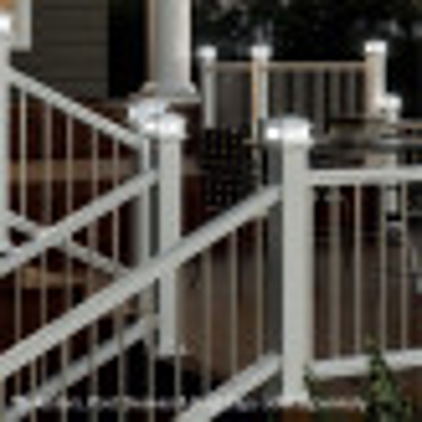 Deckorators CXT Railing System - Classic Round Balusters & Solar Post Cap Lights