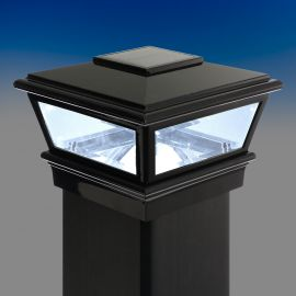 Solar VersaCap by Deckorators-4-1/16 in-Black - Installed and lit