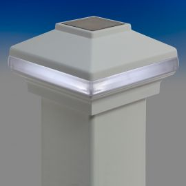 Solarband VersaCap by Deckorators-4-1/16 in-White - Installed and lit