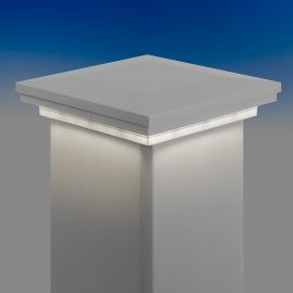 Low Voltage Downward Post Cap Light for Trex Post Sleeves by LMT Mercer Group - Classic White - Lit