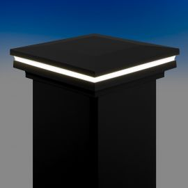 Ornamental Low Voltage Post Cap by LMT Mercer - Cool (5k) Lit - Matte Black