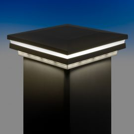 Ornamental Combination Low Voltage Post Cap by LMT Mercer - Cool (5k) Lit - Matte Black