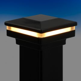 Flat Pyramid Post Cap Kit with LED Cap Glow Ring by Fortress - Gloss Black - Installed - 3-1/16 in - Light On