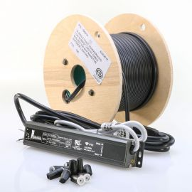 The 30 Watt LED DC Transformer Kit from DecksDirect includes the transformer itself, 100 feet of low-voltage wire, and 20 wire nut connectors.