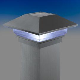 ALX Classic Solar Post Cap Light by Deckorators - Brushed Titanium - Light On