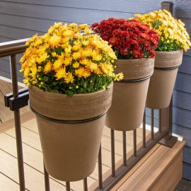 Have a green thumb on your deck with the help of Hold It Mate's Ring Bundle.    A perfect way to display your blooming flowers and keeping your deck pots off the ground.
