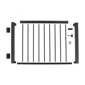 Shown in Textured Black the Century Aluminum Railing Gate Kit is a complete metal deck gate all in one easy-to-install package!