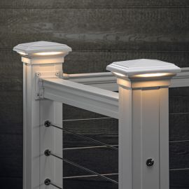 Pyramid Downward LED Post Cap Light shown in Textured White, lit.