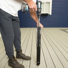 Keep your knees and back from hours of pain by using the CAMO Drive Stand-Up Tool which attaches directly to your own personal drill.