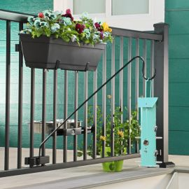 Add touches of color and invite your local wildlife to your space with the Adjustable Planter Box Brackets by Hold It Mate.