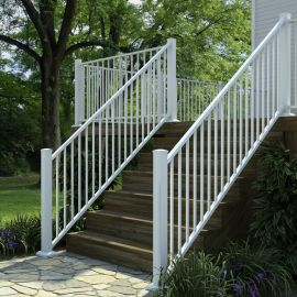 AL13 Traditional Adjustable Aluminum Stair Panel by Fortress - Gloss White