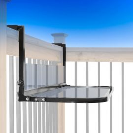 Folding Railing Table - Black - Installed on Railing - Folded Down