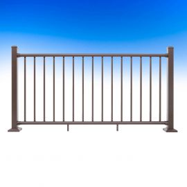 Deckorators ALX Classic Level Rail Panel - Weathered Brown - Installed with Posts