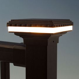 Mini Saturn LED Post Cap Light by Aurora Deck Lighting - 2-1/8 inch lit