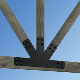 Support your backyard structure's roof with the Avant Gable Plate, shown in the 8:12 pitch installed on wood.
