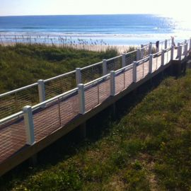 Made for level or stair railing where the distance between the posts is over 4 feet, the Cable Stabilizer Kit is pre-drilled for 3 inch spacing between cables.