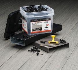 The CAMO EDGEXMETAL Hidden Deck Fastener line securely attaches all grooved composite, hardwood, and PVC deck boards.
