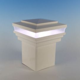 Cape May Low Voltage LED Post Cap Light by LMT Mercer in a cool, 5K temperature.