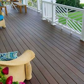 Create a completed look for your deck or porch with Fiberon Concordia Symmetry Collection Riser Boards, shown in Warm Sienna.