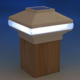 At night, the Solarband Solar Post Cap Light by Deckorators illuminates your outdoor space with a lovely glow.