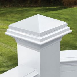 Pyramid Post Cap by Deckorators - White - 4-1/16 inch