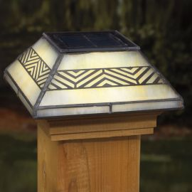 Deckorators Filigreed Chevron Solar Post Cap Light