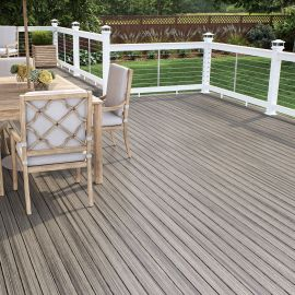 Open up a comfortable gathering space with Deckorators Vista Deck Boards, shown in Driftwood.