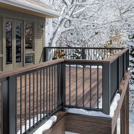 Match your drink rail and decking with Deckorators Vista Fascia Board and Vista Deck Boards for a great view.