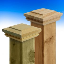 The Hatteras Flat Top Post Caps by Deckorators is available in both a cedar and pressure-treated pine material.