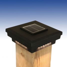 Savvy Solar Post Cap Light by Dekor - 5-9/16 - Antique Metal Black