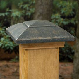 Designer Post Cap by Deckorators - Oil Rubbed Bronze with Cedar Base - 3-5/8 inch