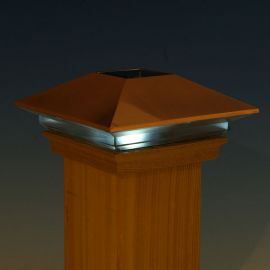 High Point Solar Post Cap Light by Deckorators lit