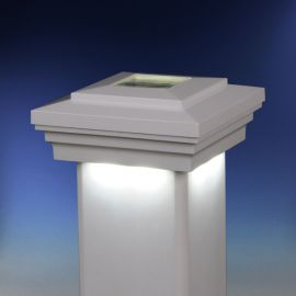 Cape May Downward Solar Post Cap Light by LMT Mercer - White