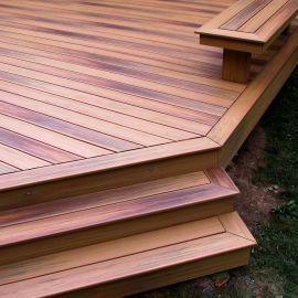 Create a gorgeous picture-frame deck with DuraLife Starter Boards in Golden Teak.