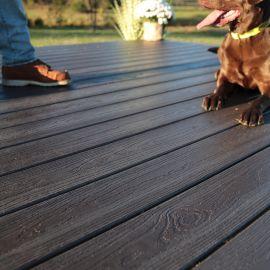 The Envision Inspiration Collection Decking, shown in Barnwood Plank, provides an aged-wood look with none of the splinters!
