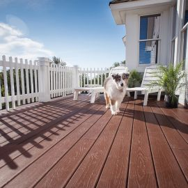 Pets can roam worry-free on the tough capstock of the Envision Expression decking line, shown in Canyon Ridge.