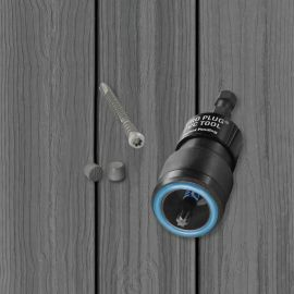 The Starborn Pro Plug System for Envision Decking features the Pro Plug PVC and Composite Tool and epoxy-coated steel screws.