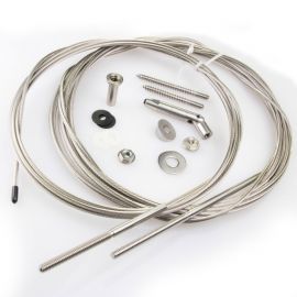 The CableRail Kit includes (1) selected length of 3/16 in cable with pre-attached Threaded Terminal fitting, (1) Quick-Connect® SS fitting, (2) nylon Flat Washers, and (1) stainless steel Snug-Grip® washer nut