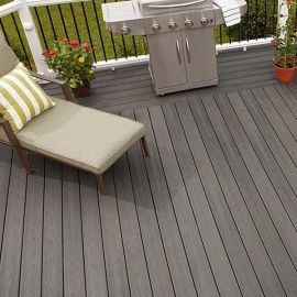 Get comfortable in your outdoor area with Fiberon Sanctuary decking in Chai in unique decking design.
