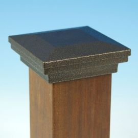 Flat Pyramid Post Cap by Fortress Accents-Antique Bronze-5-1/16 in-Flat Pyramid