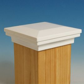 Flat Pyramid Post Cap by Fortress Accents-Gloss White-6-3/16 in-Flat Pyramid