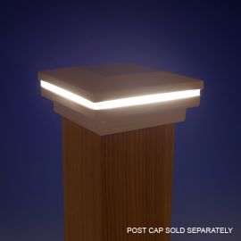 FortressAccents™ LED Glow Ring for Post Caps - installed (post cap sold separately)