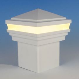 Haven Low Voltage LED Post Cap Light by LMT Mercer - Warm (3k) Lit - White