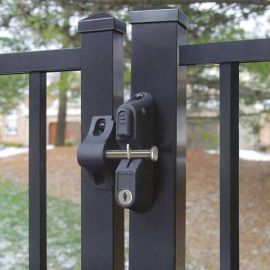 The HideAway Privacy Rail Boerboel GardDog Locking Two-Sided Latch, shown in Black, keeps gate doors closed.
