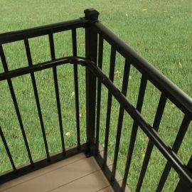 90 Degree Elbow Handrail Return by Westbury Aluminum Railing (Shown with Inside Corner Mount)