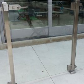 "InvisiRail Glass Deck Gate with Hardware - 36"" Opening Single Gate"