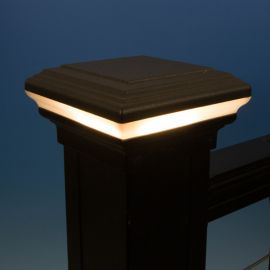 Flat Top Halo LED Post Cap Light by KeyLink - Lit